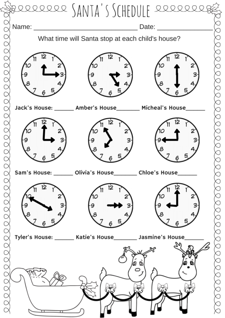 Santau0026#39;s Schedule Time Worksheet u22c6 Miniature Masterminds
