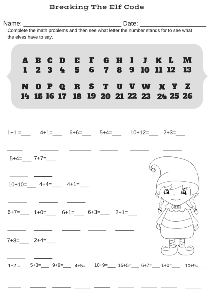 Addition Christmas Code Breaker Worksheet Break the Elf Code – Addition Christmas Worksheets