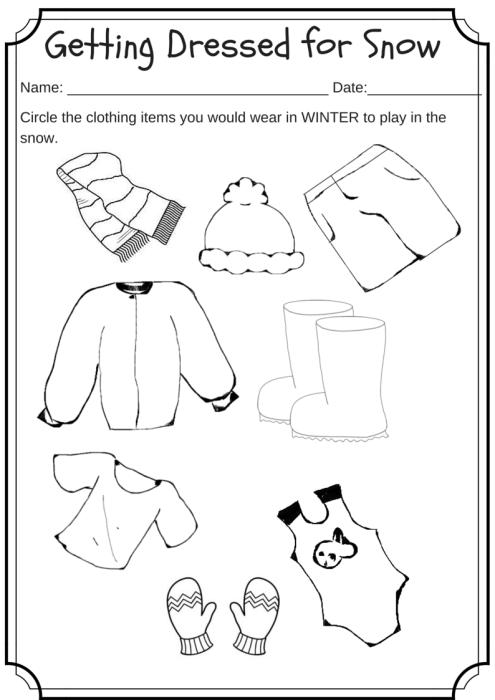 Winter Weather Wear Preschool Worksheet – What would you wear on a ...