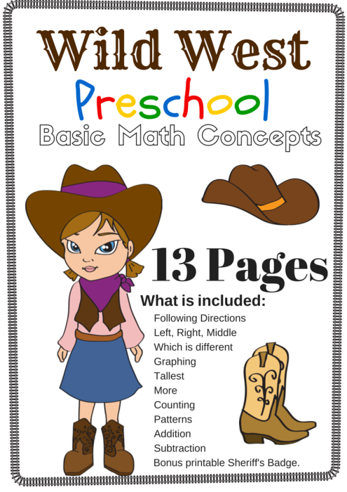 Wild West Preschool Basic Math Concepts Free 13 Page