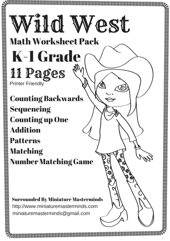 Free Printable Wild West Themed Math Worksheet Pack Kindergarten