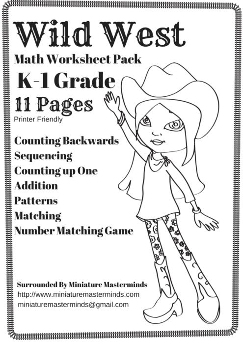 free printable wild west themed math worksheet pack kindergarten 1st grade printer friendly. Black Bedroom Furniture Sets. Home Design Ideas