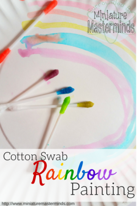 Cotton Swab Rainbow Painting – Easy Toddler – Preschool Activity