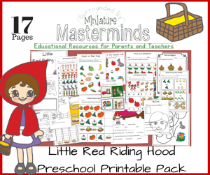 Little Red Riding Hood Educational Preschool Free Printable 17 Page Pack