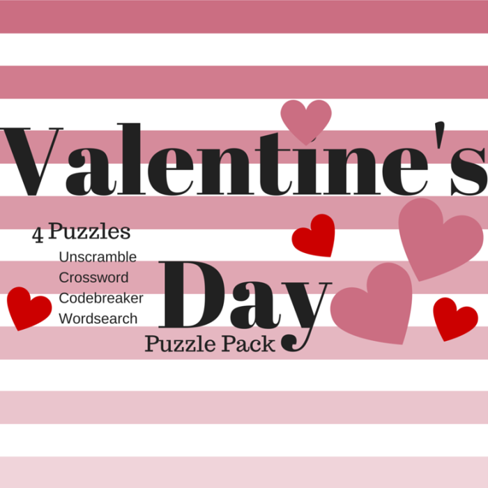 Free Valentine's Day Printable Puzzle Pack Word search, Code breaker, Unscramble, and Crossword