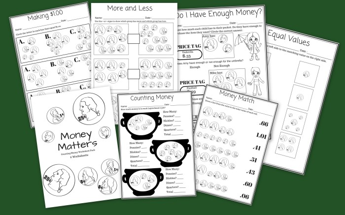 Money Matters - 6 Free Printable Money Counting Worksheets