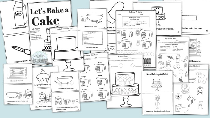 Lets Bake a Cake Measuring and Recipe Reading Pack Includes – Reading a Recipe Worksheet