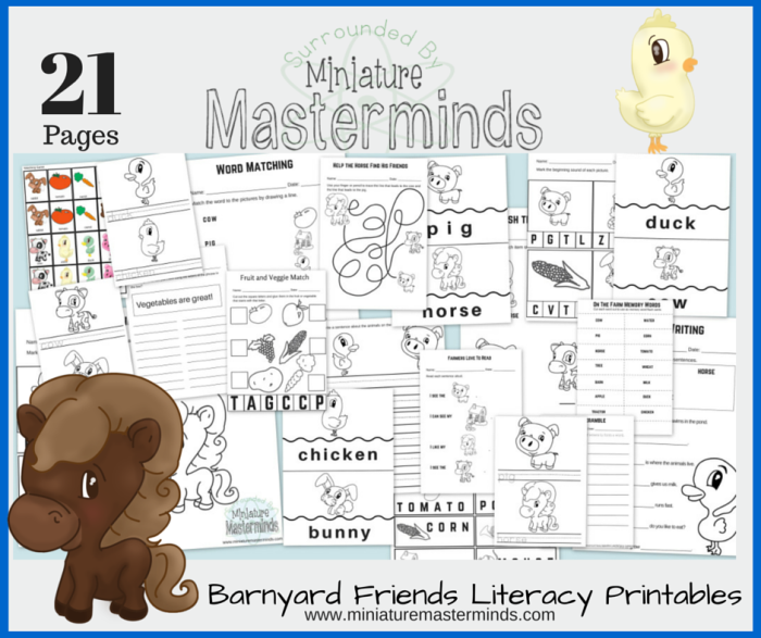 Barnyard Friends Literacy Free Printable 21 Page Pack