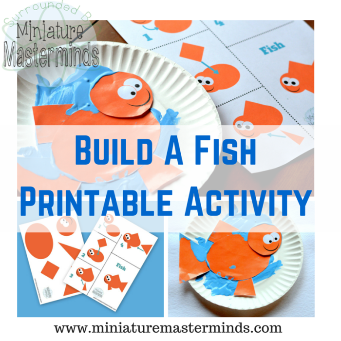 Build a fish with simple shapes preschool printable activity for Fish activities for preschoolers
