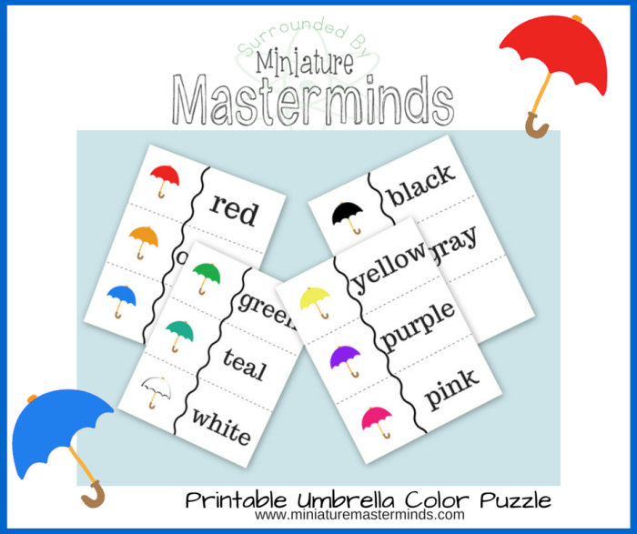 Free Printable Color Umbrella Puzzle