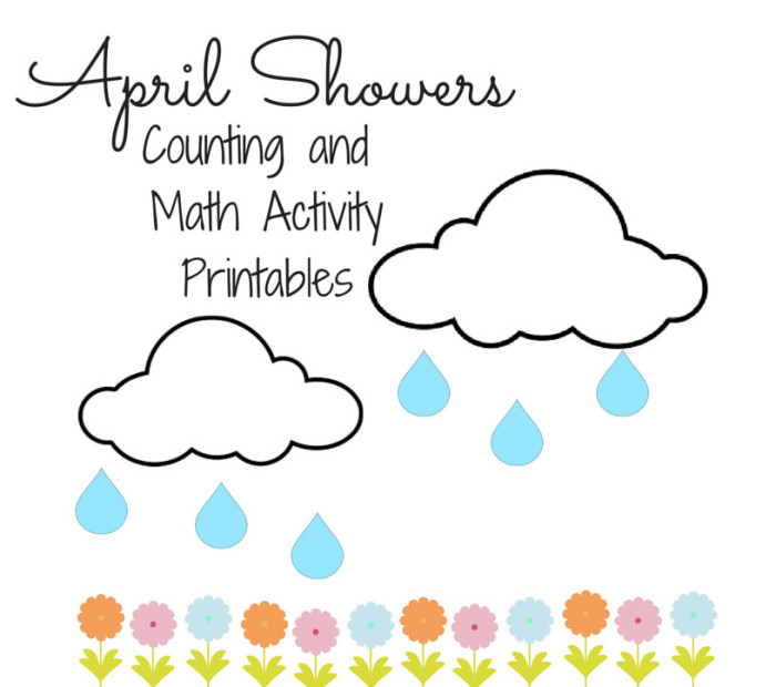 April Showers Counting and Math Activities for Preschoolers