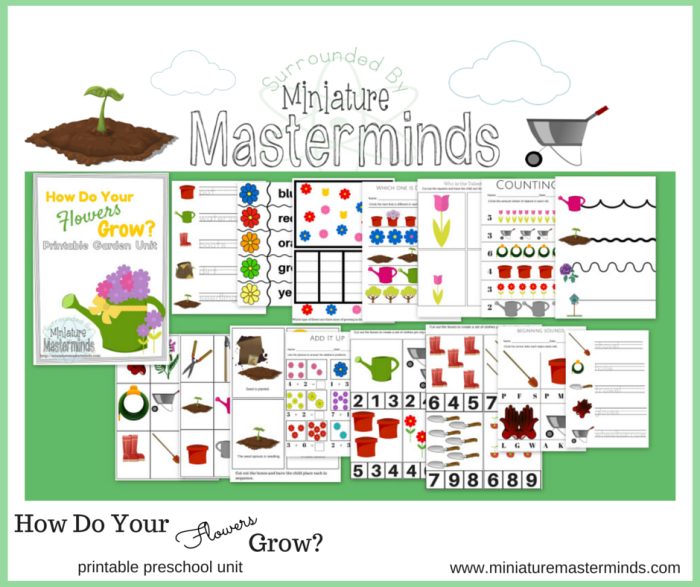 How Do Your Flowers Grow Free Printable Garden Preschool Pack Miniature Masterminds