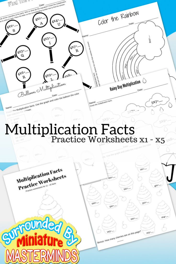 Free Printable Multiplication Facts Practice Worksheets 1 - 5