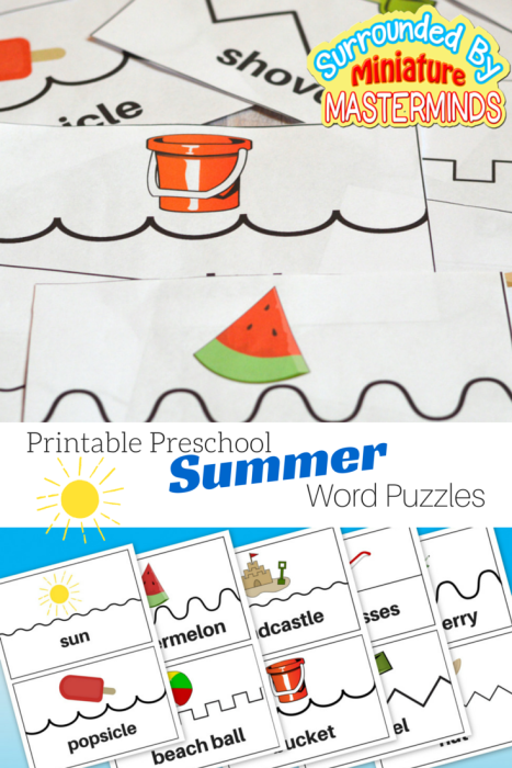 Printable Preschool Summer Word Puzzles