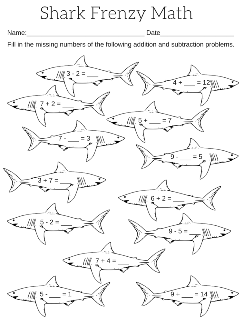 math worksheet : printable shark frenzy math worksheet  miniature masterminds : Grade 1 Addition And Subtraction Worksheets