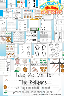 Take Me Out To The Ball Game. Free 35 page Printable Baseball Theme Preschool and First Grade Pack