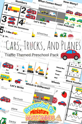Cars, Trucks, And Planes Traffic Themed Preschool Printable Basic Skills Pack