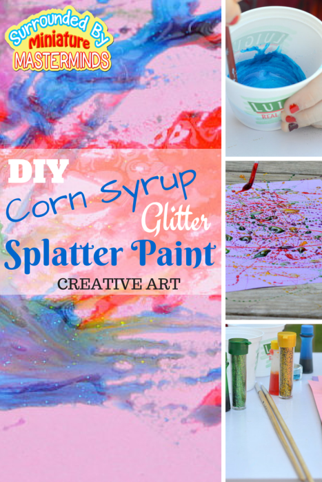 DIY Corn Syrup Glitter Splatter Paint Art