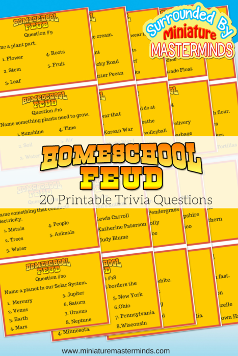Home school Feud 20 printable question game