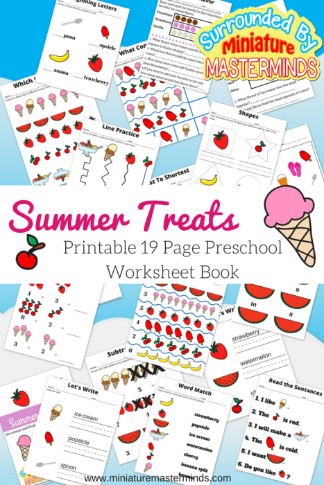 Summer Treats 19 Page Printable Workbook for preschoolers.