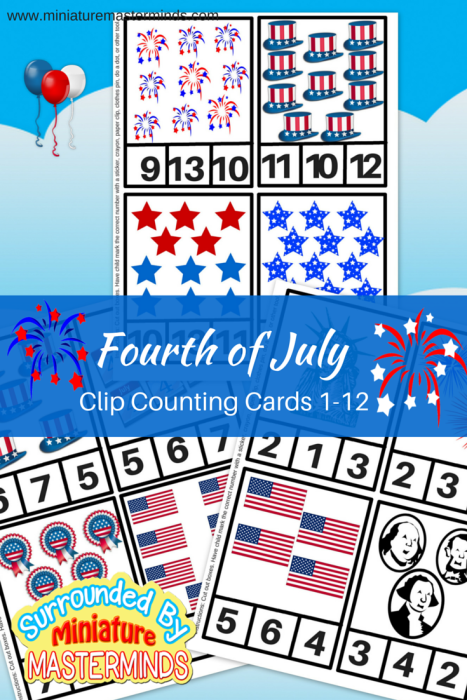 Fourth of July Clip Counting Cards