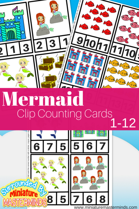 Mermaid Clip Counting Cards 1-12