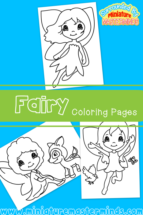 three free fairy coloring pages