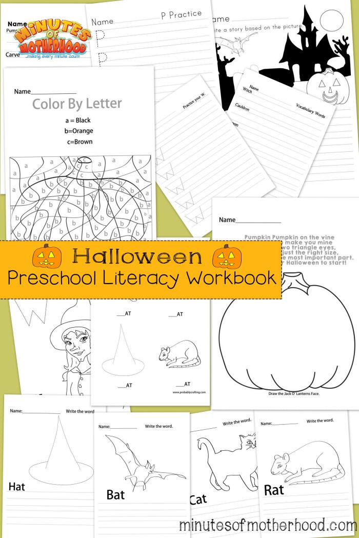 Free 13 Page Printable Halloween Preschool Literacy Workbook