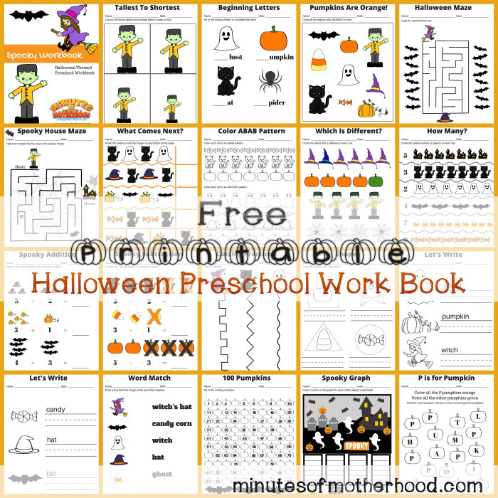 Free Printable Halloween Preschool Workbooksquare