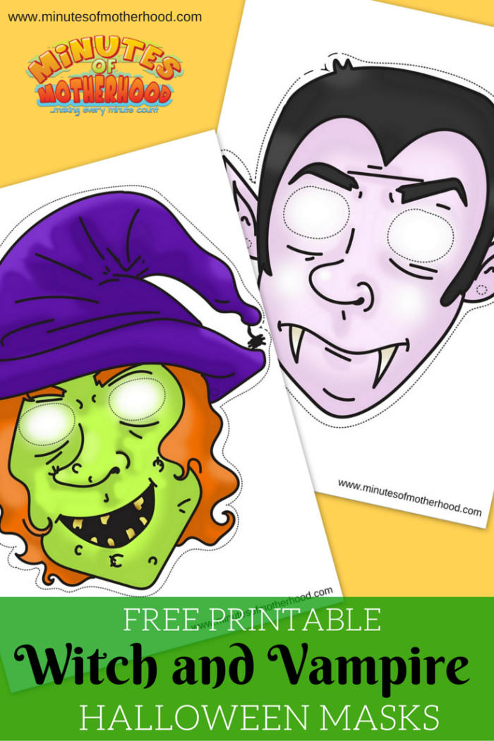 Free Printable Witch and Vampire Halloween Masks