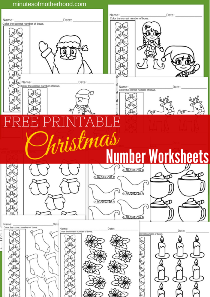Free Printable Christmas number workbook 10 pages of counting practice worksheets