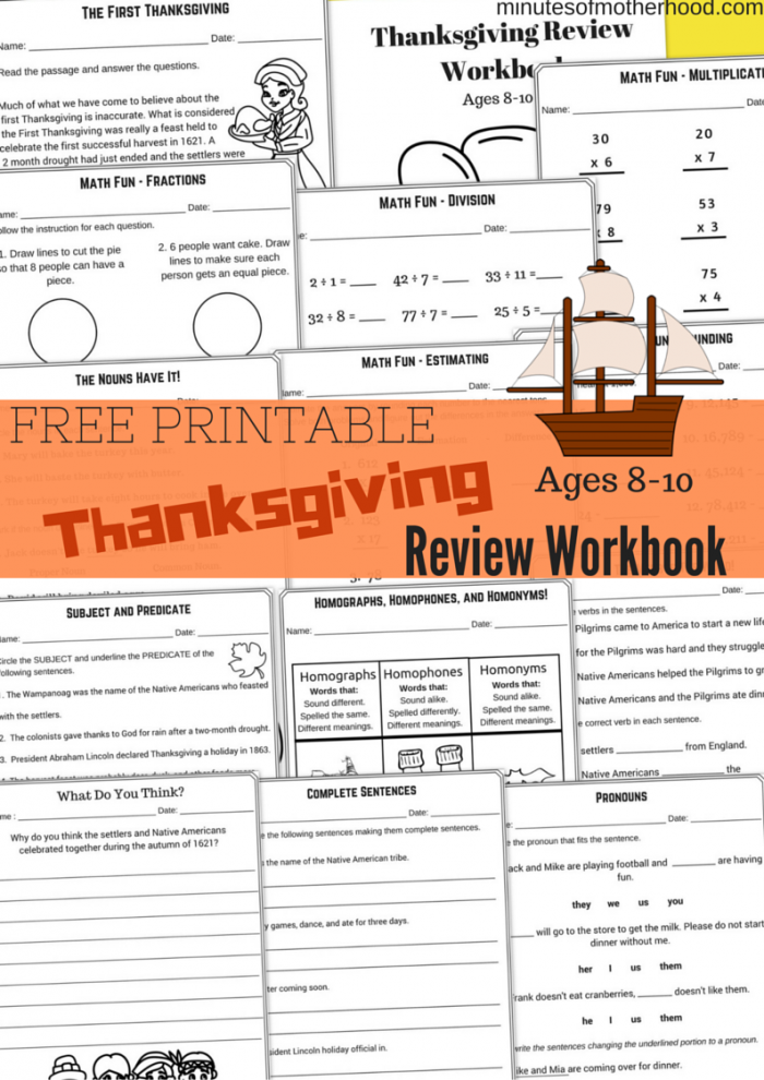 Free Printable Thanksgiving Day Review workbook 13 pages Math, Nouns, Verbs, writing, estimating