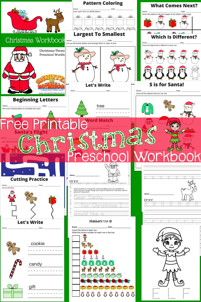 Free Printable Christmas Preschool Workbook