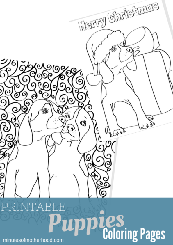 Printable Puppies Adult Coloring Page (1)