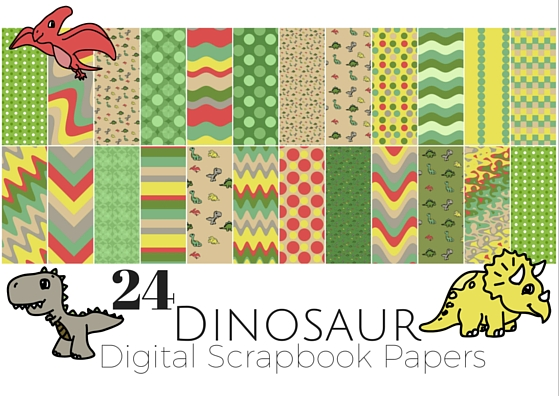 24 Free Dinosaur Themed Digital Scrapbooking Paper Miniature