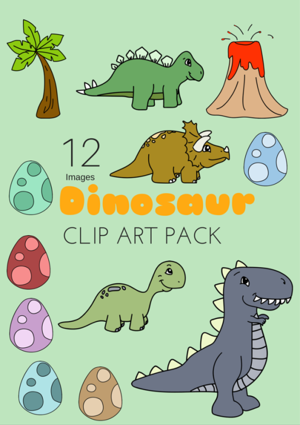 Dinosaur Clip Art Pack 12 Images