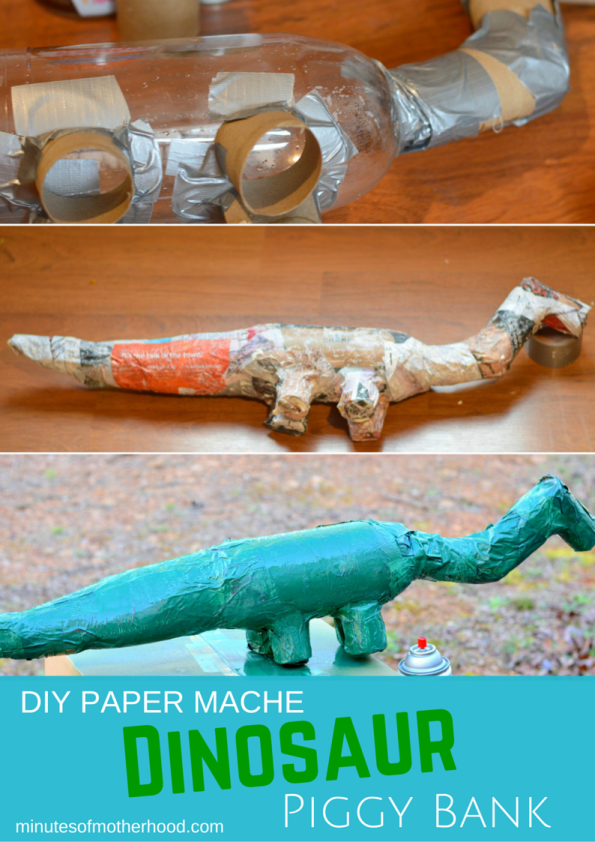 Dinosaur Paper Mache Piggy Bank DIY