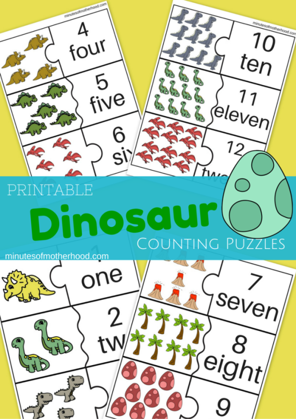 Dinosaur Counting Cards For Preschool 1 – 12 – Miniature Masterminds