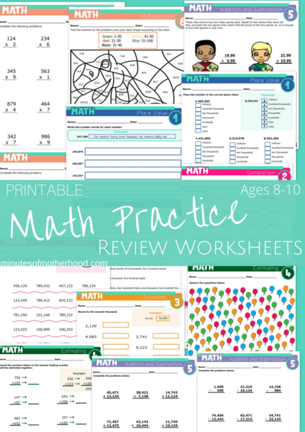 Printable Math Practice Review Pages for Ages 8 to 10