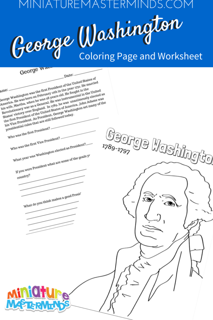 George Washington Coloring Page With Literacy Worksheet – George Washington Worksheets