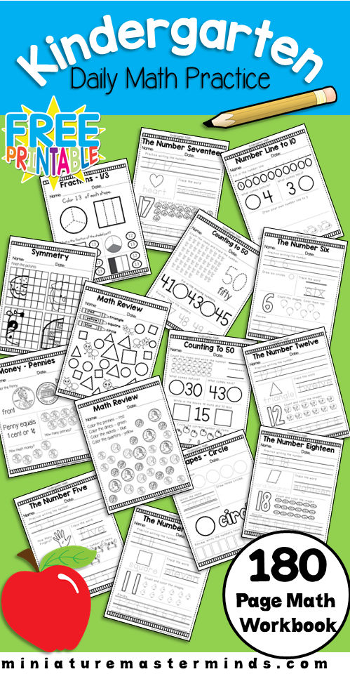 Kindergarten Daily Math Practice Worksheets - 180 Page ...