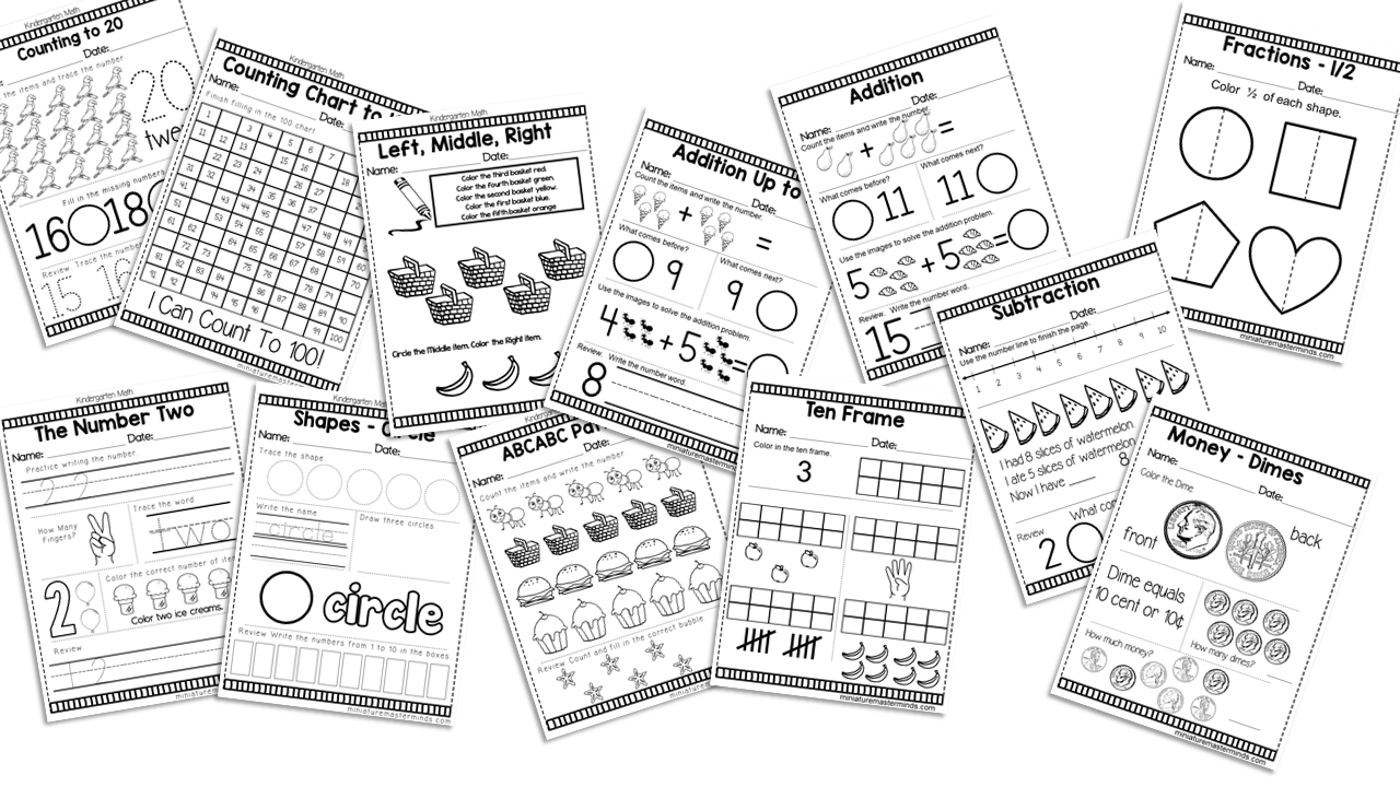 - Kindergarten Daily Math Practice Worksheets – Miniature Masterminds