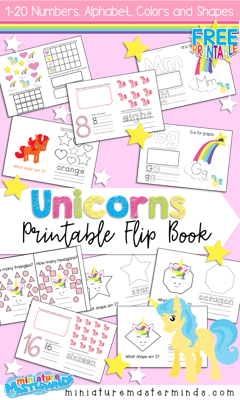 - Free Printable Unicorn Themed Flip Book 1-20 Numbers, Colors