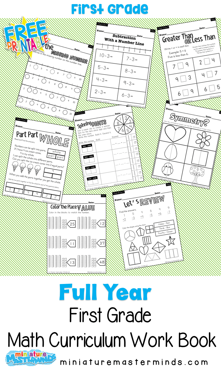- Full Year Math Curriculum First Grade Free Printable Book