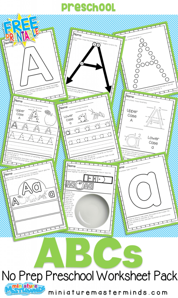 Free Printable Preschool Alphabet Workbook – Miniature Masterminds