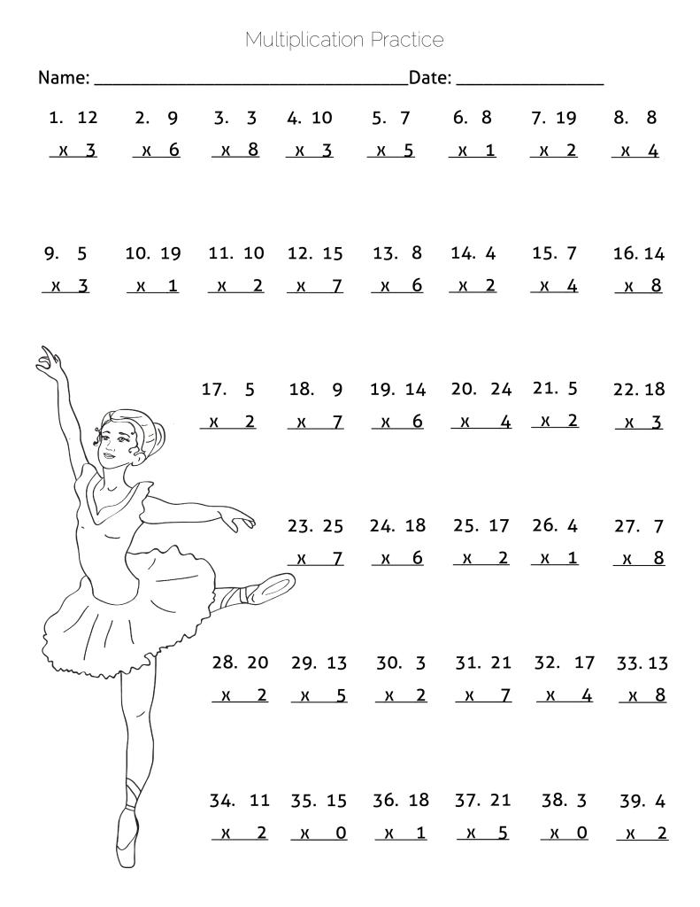 Multiplication Practice Worksheet - Ballerina Dancing ...