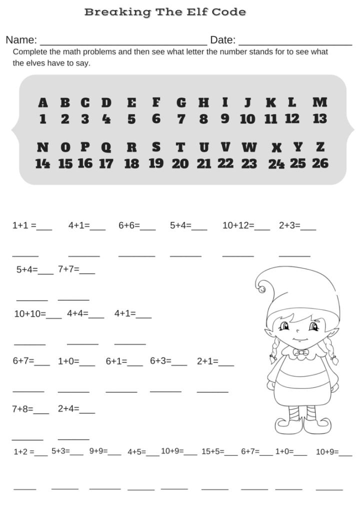 Addition Christmas Code Breaker Worksheet. Break the Elf Code ...