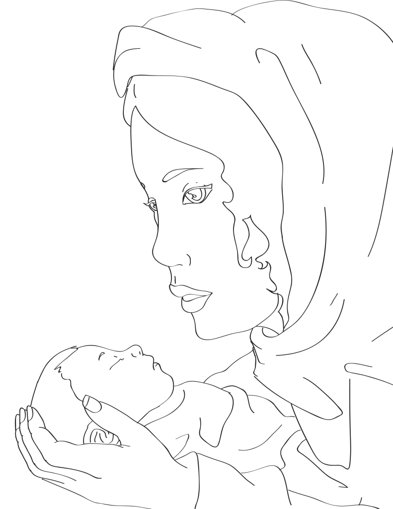 Mary and Baby Jesus Coloring Page - Miniature Masterminds