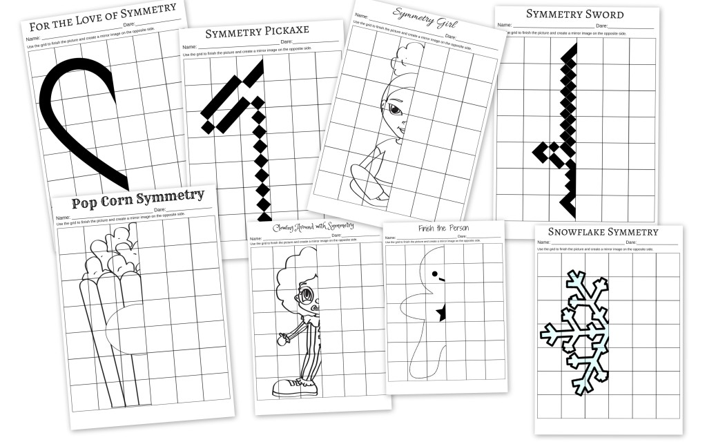 Printable Worksheets symmetry drawing worksheets : Practicing Symmetry – Finish the Drawings – Miniature Masterminds