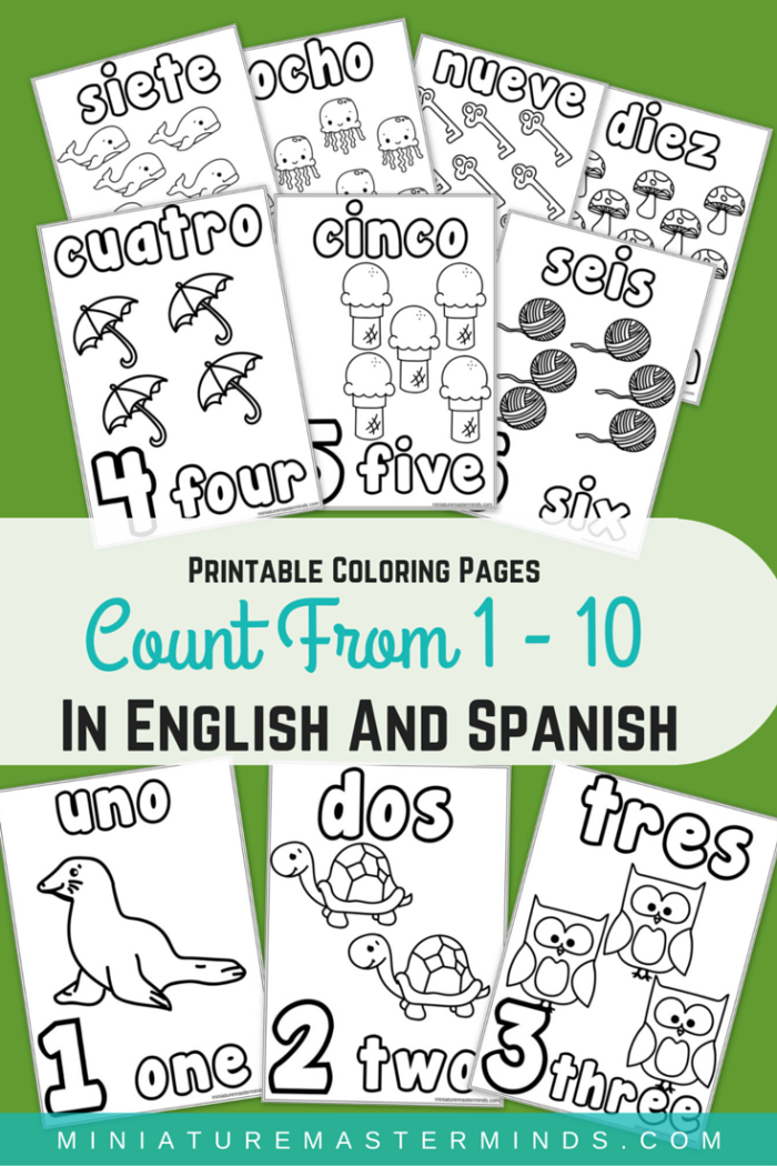Printable Coloring Pages Counting 1 10 In English And Spanish Miniature Masterminds